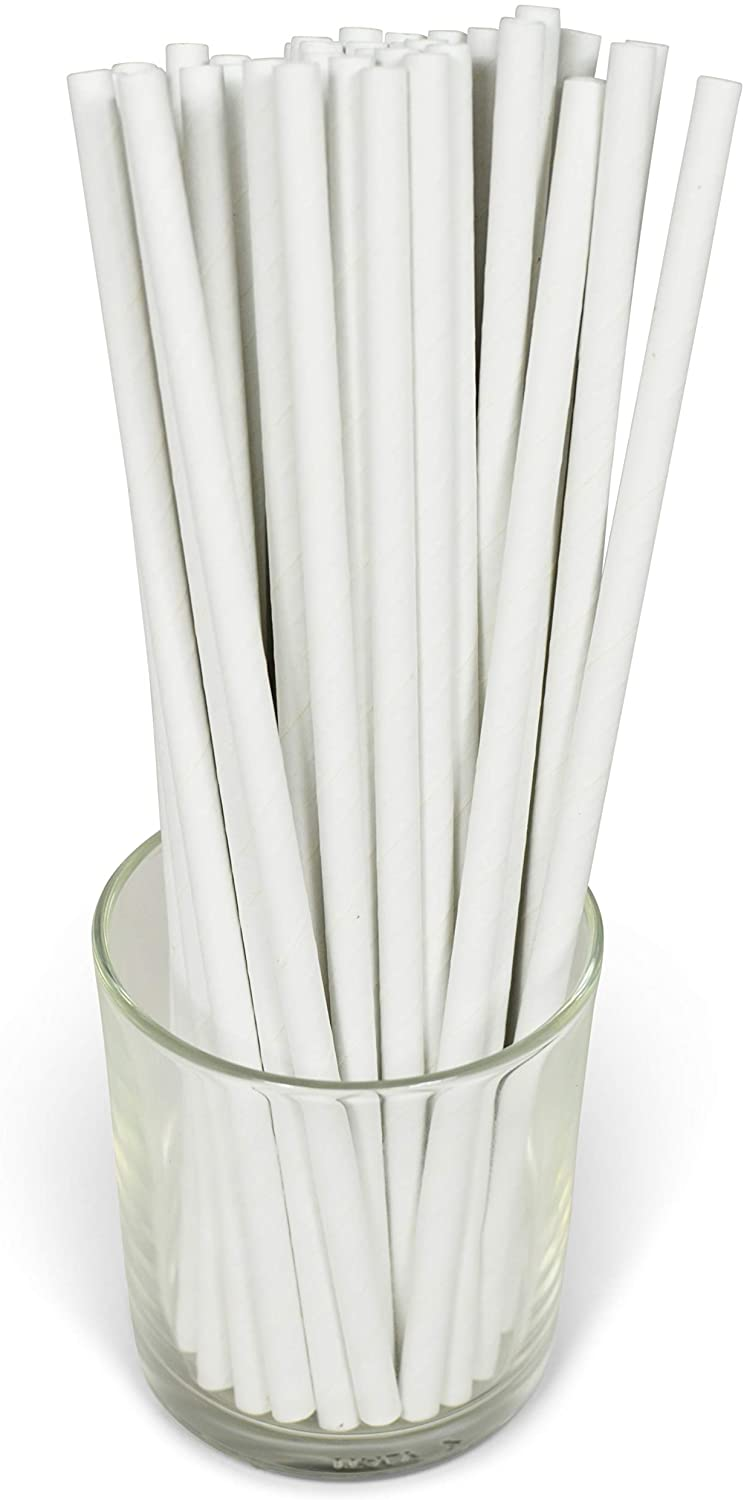 White Solid Paper Eco Straws - Normal length 200mm/6mm - 250 straws pack
